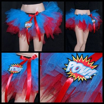 Comic Book Super Hero Red Blue POW Embroidery trashy TuTu MTCoffinz ALL SIZES