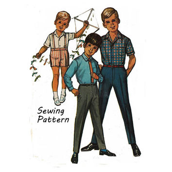 "Simplicity 6424 Toddler Boy Fly Front Tapered Pants, Shorts, Long or Short Dress Shirt Sewing Pattern Size 3 Chest 22""/ 56cm Vintage 1960s"