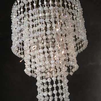 Battery Operated LED Acrylic Crystal Chandelier | 3 Tier 15in