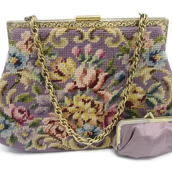 1960'S Purple Floral Needlepoint Tapestry Kelly Style Handbag And Coin Purse