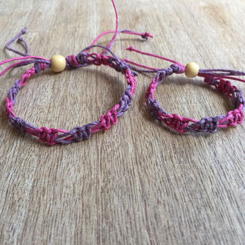 Mommy and me bracelets, Mom and Daughter bracelets, Kids bracelets, Purple Matching bracelets