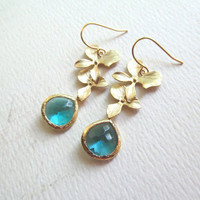 Gold Orchid Flower and Faceted Blue Glass Framed Stone Earrings - Bridesmaid Earrings, Bridesmaid Gifts, Bridal Jewelry, Weddings