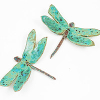 Handmade Ceramic Dragonfly Wall Hanging - Dragonfly Art - Spring Decor - Summer Decor