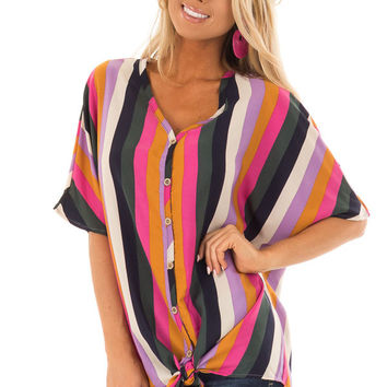 Multi Color Striped Button Down Top with Tie Detail