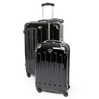 "Swiss case 2 pc luggage set spinner gloss black large 28"" & 20"" cabin suitcases"