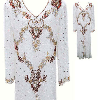 Long White Beaded Dress in Silk with Bronze & Gold Beading and Sequins - Fits Size Large