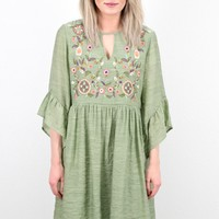 Pastels Embroidered Angel Sleeve Dress {Sage}