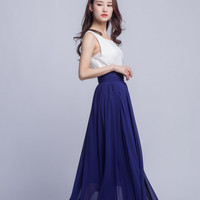 High Waist Long Skirt Chiffon Maxi Skirts Beautiful Pleated Waist Summer Skirt Floor Length Women Skirt (401) ,1#