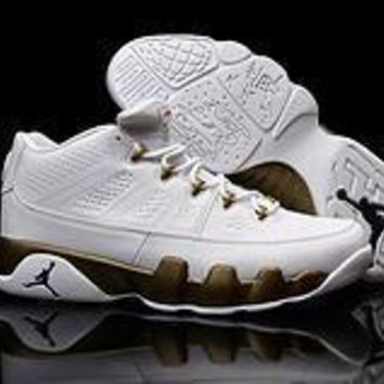 Nike Air Jordan 9 Retro Low White/Gold AJ9 Cheap Sale JD 9 Discount Men Sports Basketb