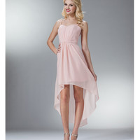 Blush Chiffon High-Low Spaghetti Strap Dress