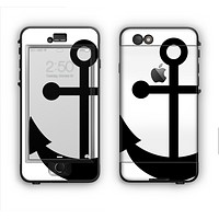 The Solid Black Anchor Silhouette Apple iPhone 6 LifeProof Nuud Case Skin Set
