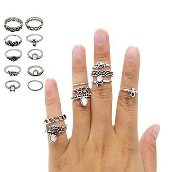 10PCS Vintage Retro Silver Plated Knuckle Nail Ring Finger Tip Stacking Rings