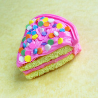 old fashioned vanilla birthday cake polymer clay magnet