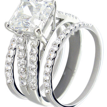 Triple Set Wedding Ring with 7mm Sq Ctr Cz