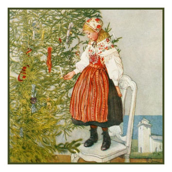 Christmas Confetti by Swedish Artist Carl Larsson Counted Cross Stitch or Counted Needlepoint Pattern