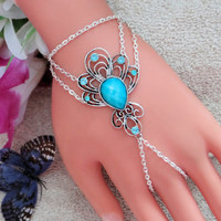 Blue Rhinestone Slave Bracelet, Hand Harness, Flower, Elegant Infinity Ring, Body Chain, Body Jewelry, Finger Chain