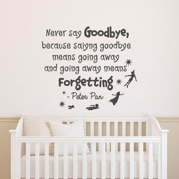 Nursery Quotes Peter Pan Wall Decal Never Say Goodbye- Peter Pan Nursery Wall Decals Stickers Kids Room Bedroom Wall Art Home Decor Q219