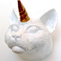 White Cat Unicorn Caticorn Wall Art