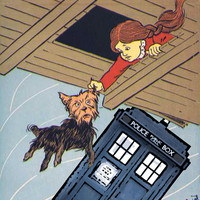 Doctor Who TARDIS Print WIZARD of OZ Dorothy Toto L Frank Baum Denslow Illustration Parody