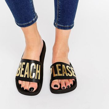 TheWhiteBrand Black Beach Please Slider Flat Sandals at asos.com