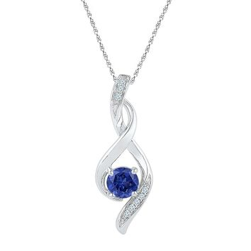 10kt White Gold Womens Round Lab-Created Blue Sapphire Fashion Pendant 5/8 Cttw