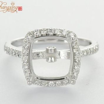 9.5mm Cushion Natural .40ct Diamond Solid 14k W/Gold Engagement Semi Mount Ring