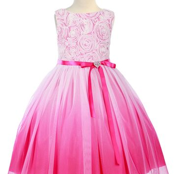 Fuchsia Pink Ombre Dyed Tulle Dress with Floral Ribbon Bodice Girls 2T-14