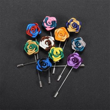 JINSE Mens Suit Pin Rose Bud Lapel Pin Mini Rose Lapel Flower Groomsman Gifts You Pick Color MD039