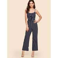 Knot Front Striped Cami Jumpsuit