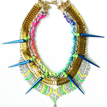 TheSpell, neon bib necklace, chunky gold painted rhinestones and spikes, mermaid style, OOAK statement necklace