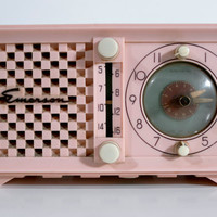 Midcentury Modern Pink Emerson Radio and Clock by resurfacefd