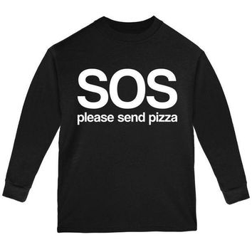 PEAPGQ9 SOS Please Send Pizza Youth Long Sleeve T Shirt