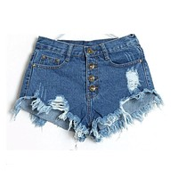 Denim Shorts Jeans Women New 2017 Summer Fashion Ladies Tassel Hole High Waist Sexy Mini Shorts for Woman White Black Blue Pink