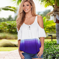 Sexy off shoulder Top T Shirt Lady Summer Casual O Neck Half Sleeve