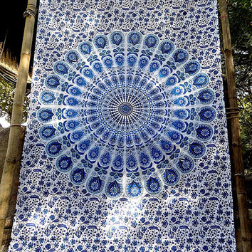 Blue White Mandala Cotton Fabric Hippie Tapestry Throw Twin Bedspread Wall Hanging Boho Mandala Bohemian Ethnic Wall Decor - FabricSarmaya
