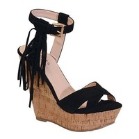 Black Ella Wedge Sandal
