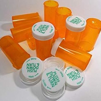 Empty Plastic RX Pill Medicine Bottles Containers Amber Reversible Lids Storage Used
