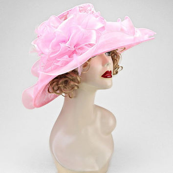 Kentucky Derby Church Wedding Tea Party Pink Wide Brimmed Layered Ribbon Lace Bow Feather Organza Hat