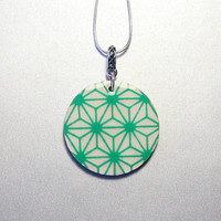 Green washi pendant, Japanese necklace, Asian inspired, round birch wood, resin, silver-plated 18 inch - featuring flax leaf monogram