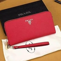Prada Women Fashion Leather Zipper Wallet Purse