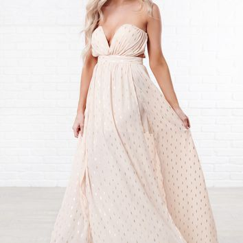 Starry Night Strapless Dress (Light Peach)