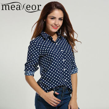 Meaneor Brand Women's Polka Dot Blouse Long Sleeve Chiffon Casual Loose Button Down Shirt Ladies Office work Elegant Top Blouse