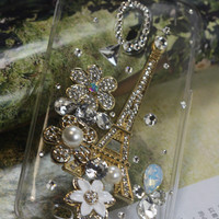 Handmade Charms Pearl Rhinestone Eiffel Tower  Bling Bling Phone Case For Motorola Droid X MB810/Verizon Droid X2 X 2 II MB870