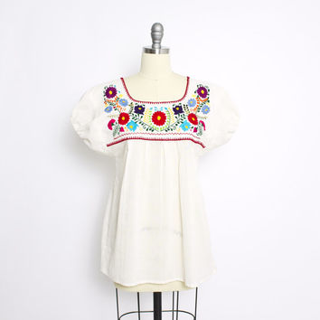 Vintage 70s Blouse - Mexican Embroidered Floral Ivory Boho Top 1970s - Small