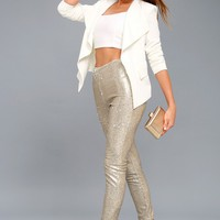 Encore Silver and Light Gold Sequin Leggings