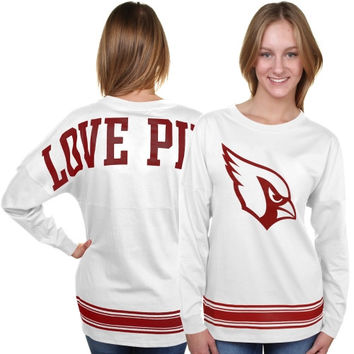 Arizona Cardinals PINK by Victoria's Secret Women's Varsity Stripe Crew Neck Pullover Sweatshirt - White