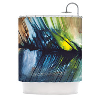 "Steve Dix ""Gravity Falling"" Blue Paint Shower Curtain"