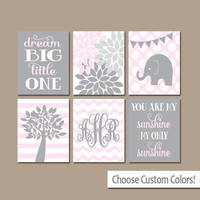 Girl Wall Art CANVAS or Prints Elephant Monogram Initials Baby Girl Nursery Dream Big Sunshine Tree Personalized Flower Bedroom Set of 6