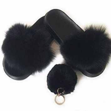 Fur Slipper For Women .fashion 2017 With Free Pom Pom Keychain