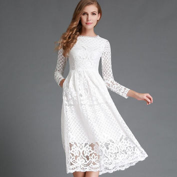 Lace Circle Skirt Dress